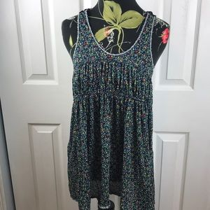 Free people boho blue tank top floral lace Small
